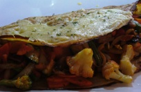 Pancake with stir-fried veggies